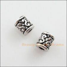 25Pcs Tibetan Silver Tone Flower Tube Spacer Beads Charms 6mm