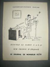 Dessin Original de JEAN MARC vers 1955 Publicité R.T.F : LE JOURNAL DE M. FLUTE
