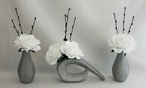 HANDMADE ARTIFICIAL (SET OF 3) SILK WHITE ROSES, S / GLITTER VASES, NEW DESIGN