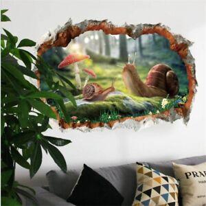 SNAIL 3D 🔥 WALL STICKERS KIDS BOYS GIRLS 🔥 BROKEN WALL ROOM HOME DECOR ART