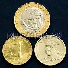 GAGARIN SPACE FLIGH 3 RUSSIAN COINS 2 RUBLES + 10 BI-METALLIC RUBLES 2001 & 2011