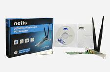 PCI N-300 Wireless / WiFi Card w/ Std & Low Profile Brackets + 2x 5dB Antennas