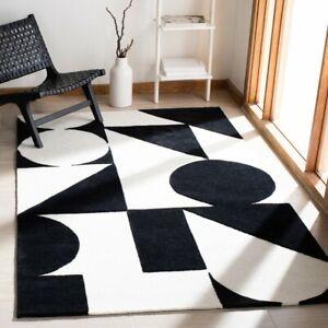 Dave Geometric Black & White Hand-Tufted 100% Wool Soft Area Rug Carpet