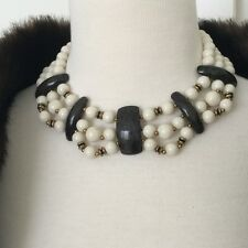 Vintage Miriam Haskell Necklace Statement Choker Signed Black White Beads