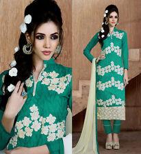 PERSIAN GREEN CHANDERI SILK SALWAR KAMEEZ SUIT DRESS MATERIAL w EMBR LADIES DEN