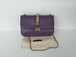 100% Authentic VALENTINO GARAVANI Glamlock Rockstud Bag Purple Leather Medium