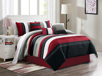7 Jordan Embroidery Pleated Stripe Comforter Set Burgundy Black White Gray Queen