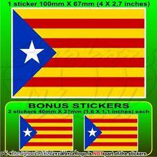 CATALONIA Catalan Independence Blue Flag Estelada Blava 100mm Sticker x1+2 BONUS