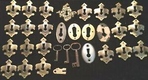 Lot Vintage Key Lock Cover Plates & Skeleton Keys. Metal, Brass