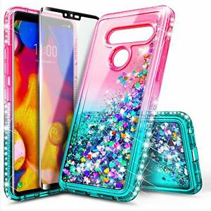 For LG V40 ThinQ Case Liquid Glitter Bling Phone Cover +Tempered Glass Protector