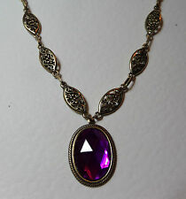 VICTORIAN STYLE PURPLE FACETED OVAL GOLD PLATED MARQUISE NECKLACE