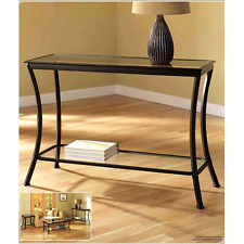 Stylish Bronze Mendocino Living Room Console Table in Metal & Glass with Shelf