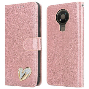 For NOKIA 3.4 Phone Case Shiny Leather Bling Glitter Flip Stand Wallet Cover