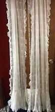 "Pair Vintage White Cotton Net Curtain Panels w/ Design & Ruffles 38"" W X 76"" L"