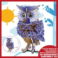 3D Woodcraft Wooden Owl Puzzle Construction Bird Jigsaw Kids Kit DIY Toy