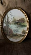 "Home Interiors Oval Cottage Swans Picture 17 1/4"" x 13 3/8"""