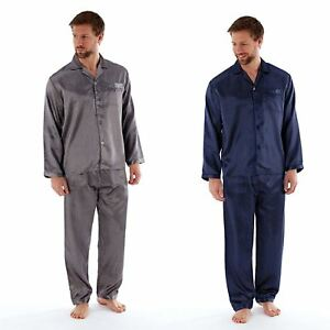 Mens Satin Long Sleeve Pyjamas Pyjama Set PJs Medium Large Extra Large XXL