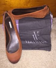 NIB Vera Wang Hania suede ballet zip flats, burnt orange/tan,size 9M