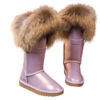 Womens Over the Knee High  Snow Boots Tall Fox Fur Trim Lined Winter WARM Shoes
