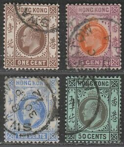 Hong Kong 1907 KEVII Part Set to 50c Used with SWATOW Postmarks