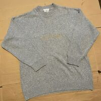 Vintage The Sweater Shop 90s Spellout Knitted Jumper Made in UK Grey Size L
