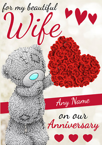 Personalised Wife Anniversary Card Personalized ADD A NAME Wedding Anniversary