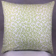 250. Handmade  GREEN LEAVES ON WHITE 100% Cotton Cushion Cover Various sizes