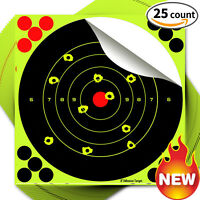 "25PK 8"" Reactive Handgun Shooting Paper Target Splatter Self-Adhesive Bull Rifle"