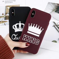 For iPhone X 6 7 8 Plus King Queen Couple Case Soft Rubber Cover Matte Thin Case