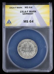 1914 F Germany Empire Mark ANACS MS64