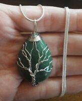 "Tree of Life Aventurine Gemstone 925 Sterling Silver Pendant necklace 18"" #156"