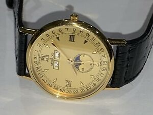 Mens Movado Triple Date Moon Phase Gold Tone Stainless Steel Watch