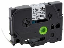 "Brother HSe211 Shrink Tube 1/8"" Black on White Fits PT-E500 Authorized Dealer"