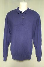 Red Moon 100% Cashmere Mens Navy Blue Polo Sweater XXL Extra Extra Large