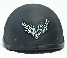 Flying Heart Rhinestone Helmet Patch Wings Decal Biker MX ATV Sticker Racing NEW