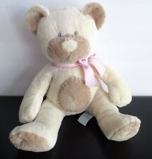 Russ Soft Rattle Taffey Plush Baby Toy Girl Teddy Bear Brown Pink Ribbon
