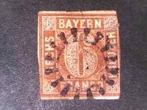 Bavaria 1849 6 Kr red brown Type I   Mi 4 I  FU