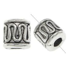 LARGE HOLE SILVER COLUMN RONDELLE SPACER BAIL//HANGER BEADS 10 mm TB032 5PCS