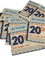 Lot of 20- 20 % off Single Item Bed Bath and Beyond coupons Most Not Expired