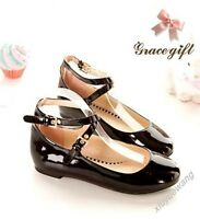 Sweet Girl's Round Maid Shoes Flat Ankle Cross Strape Cosplay 4Colors Plus Size