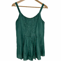 Eileen Fisher Silk Green Scoop Neck Sequin Pintuck Tank Top Pleated Cami Blouse