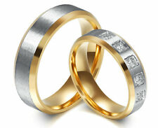 Titanium Steel ring Wedding Bands Gold with Zircon Couple Rings Free Engraving