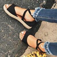 Womens Ankle Strap Flatform Wedges Shoes Espadrilles Summer Platform Sandals US