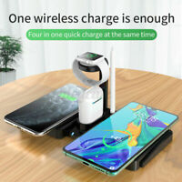 Qi Wireless 4-in-1 Fast Charger Charging Station Stand For Apple iWatch  US