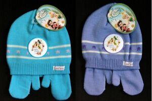 DISNEY Fairies Toddler Girl Hat and Mittens Set Aqua Blue or Purple 2-3X Friends