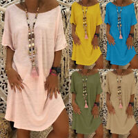 Women's Boho Baggy Plain Summer Beach Casual Loose T Shirt Mini Dress Plus Size