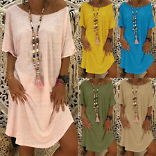 Womens Baggy  T Shirt Dress Summer Beach Short Sleeve Loose Long Tops