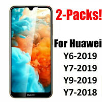 2 Packs TEMPERED GLASS & SCREEN PROTECTOR FOR HUAWEI Y6 2019 Y7 2019 Y9 2019 UK