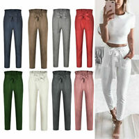 US Women's Casual Loose High Waist Long Pencil Pants with Bow Tie Belt Trousers