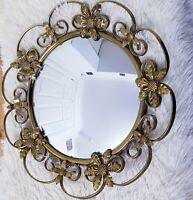 Vintage 1960's Mirror Swirls Gilt Round Metal Wall Ornate Wrought Iron Retro Mid